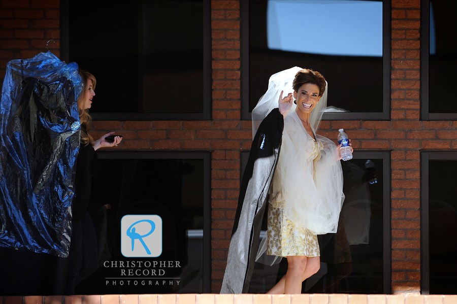 The bride arrives at Saint Gabriel Catholic Church