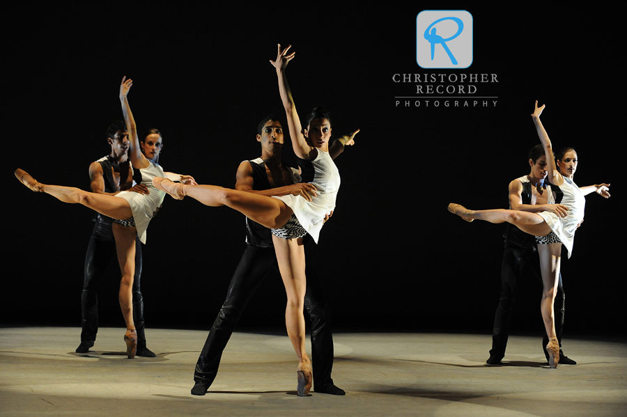 In unison, Alessandra Ball and Pete Walker, Melissa Anduiza and Addul Manzano and Anna Gerberich and Daniel Rodriquez in Rhoden's piece
