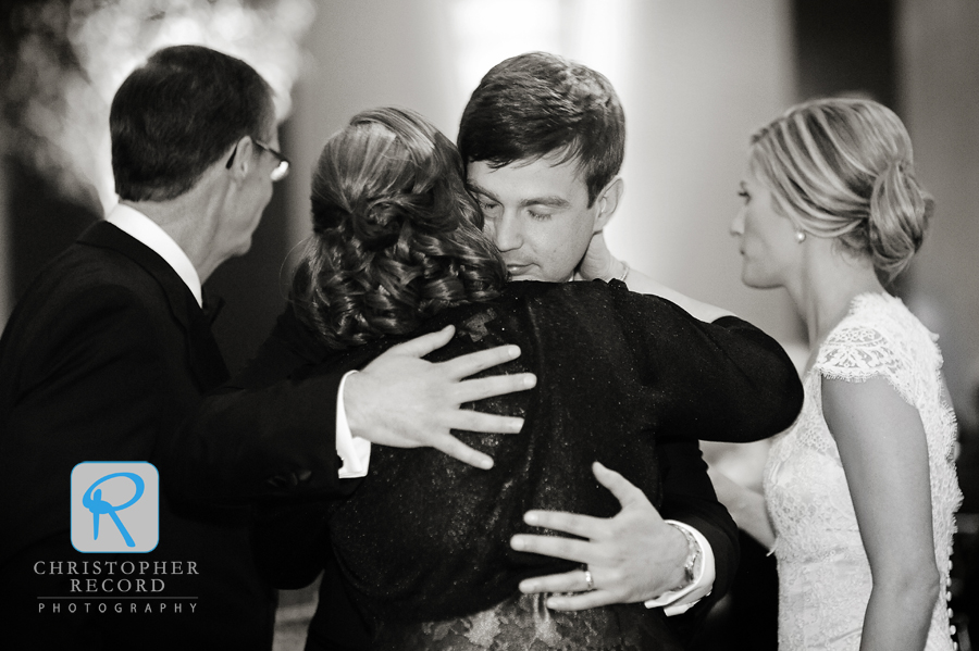Aidan hugs his mother following their dance