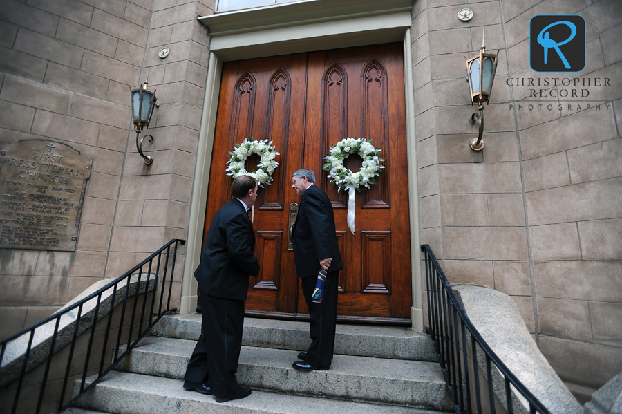Patrick and his father arrive at First Presbyterian
