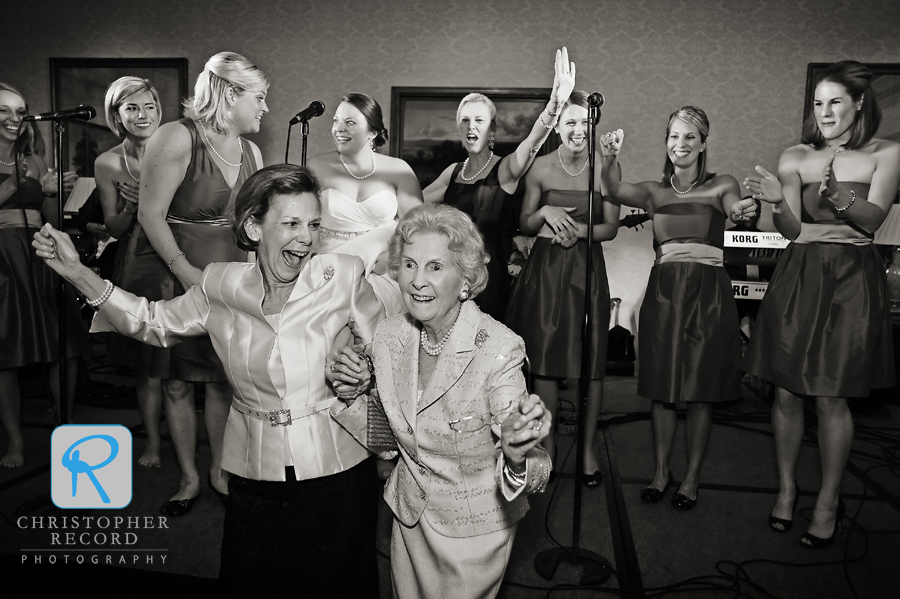 Emily's grandmother, right, got into the act as the ladies took to the stage
