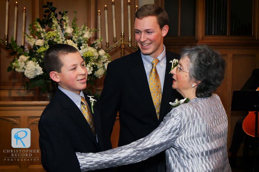 Mark's sons Luke and Russ with their grandmother