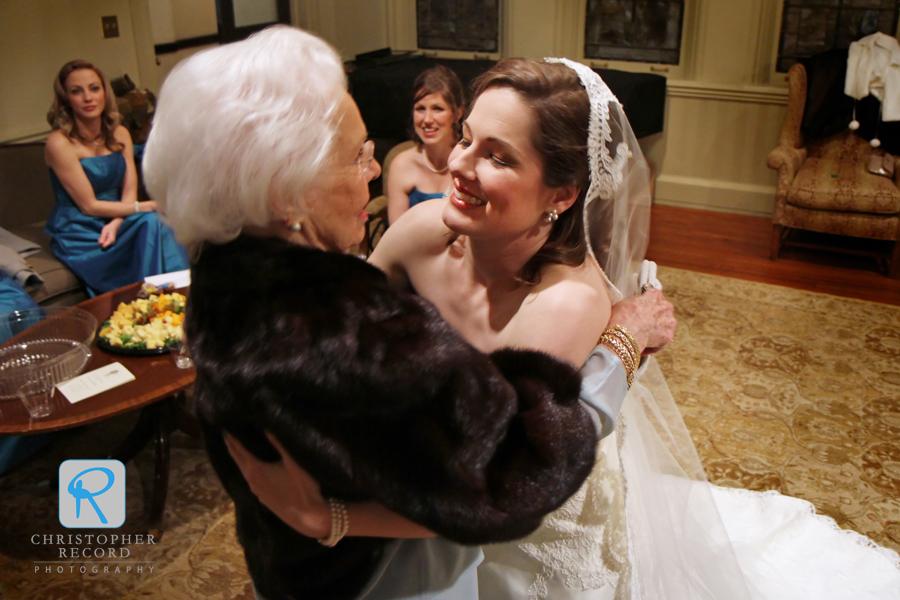 Hunter hugs her grandmother