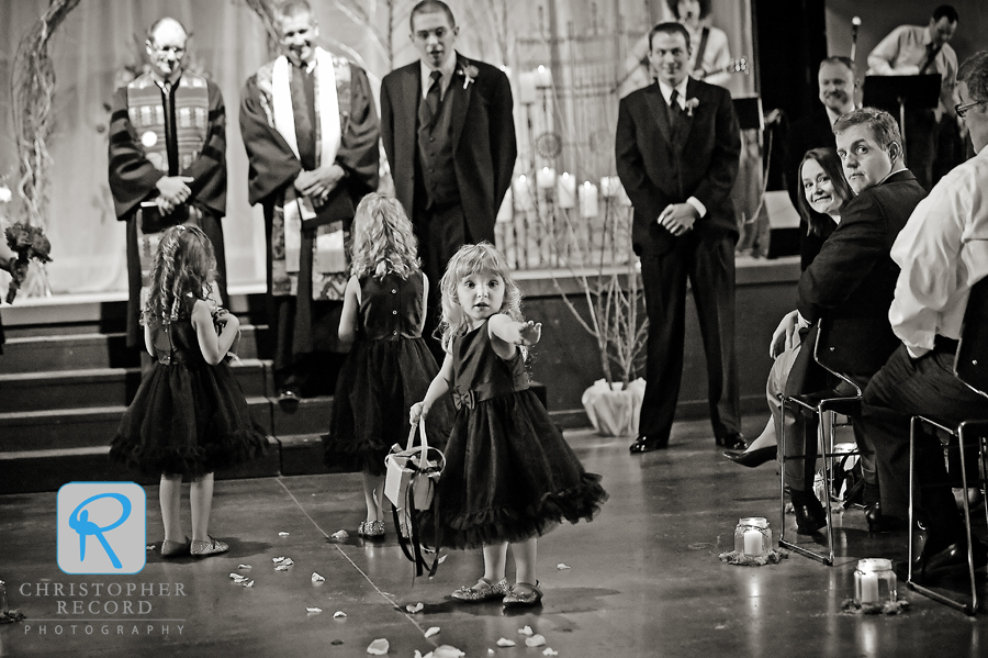 Flower girl gets a little stage fright
