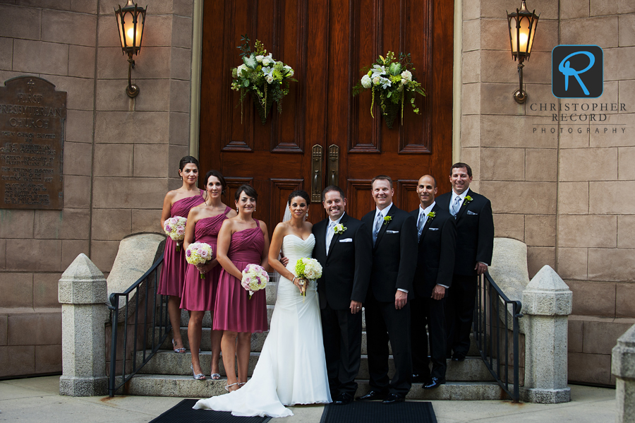 The wedding party in front of First Presbyterian in Charlotte