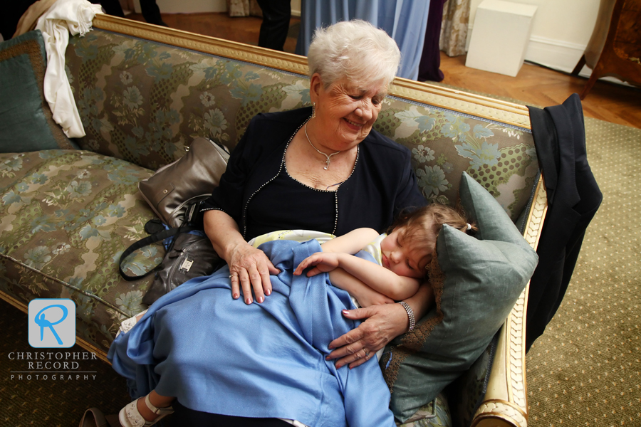 Eric's grandmother holds his niece