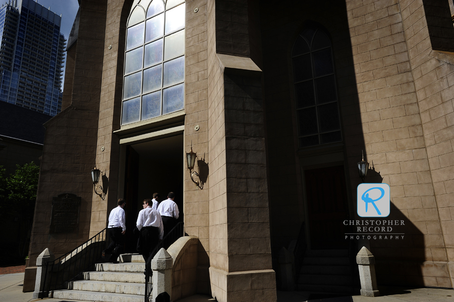 The men enter First Presbyterian Church