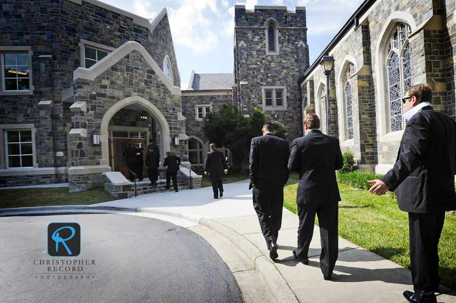 The men arrive at Myers Park Presbyterian Church