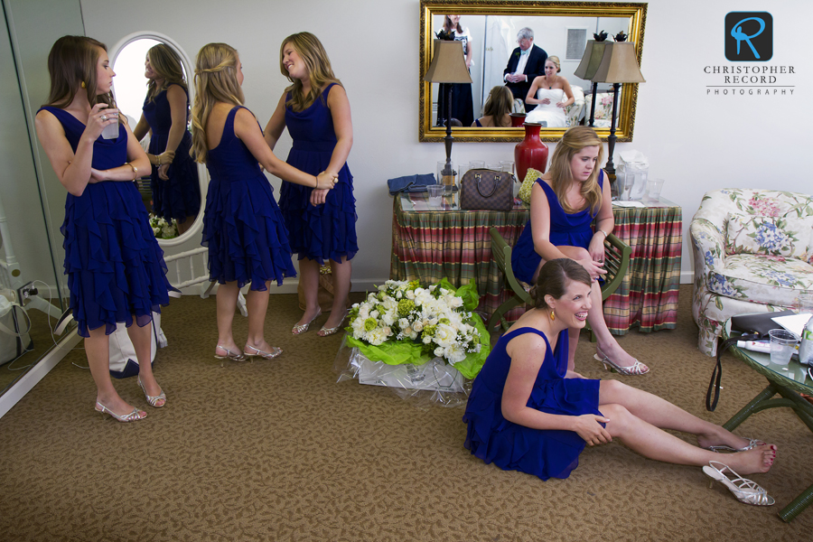 The bridesmaids get ready