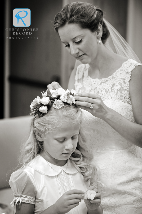 Betsy helps flower girl Sarah gets ready