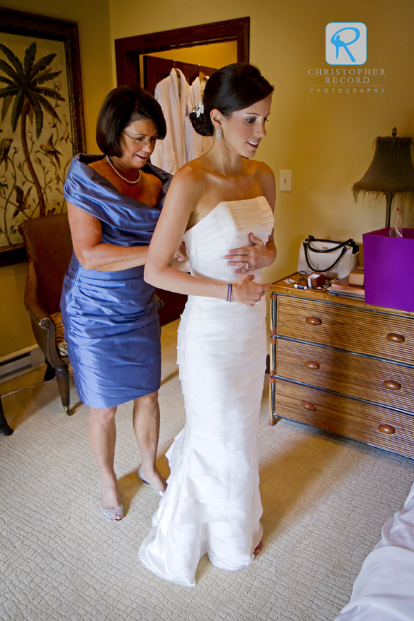 Anne Marie's mother Virgina helps with dress