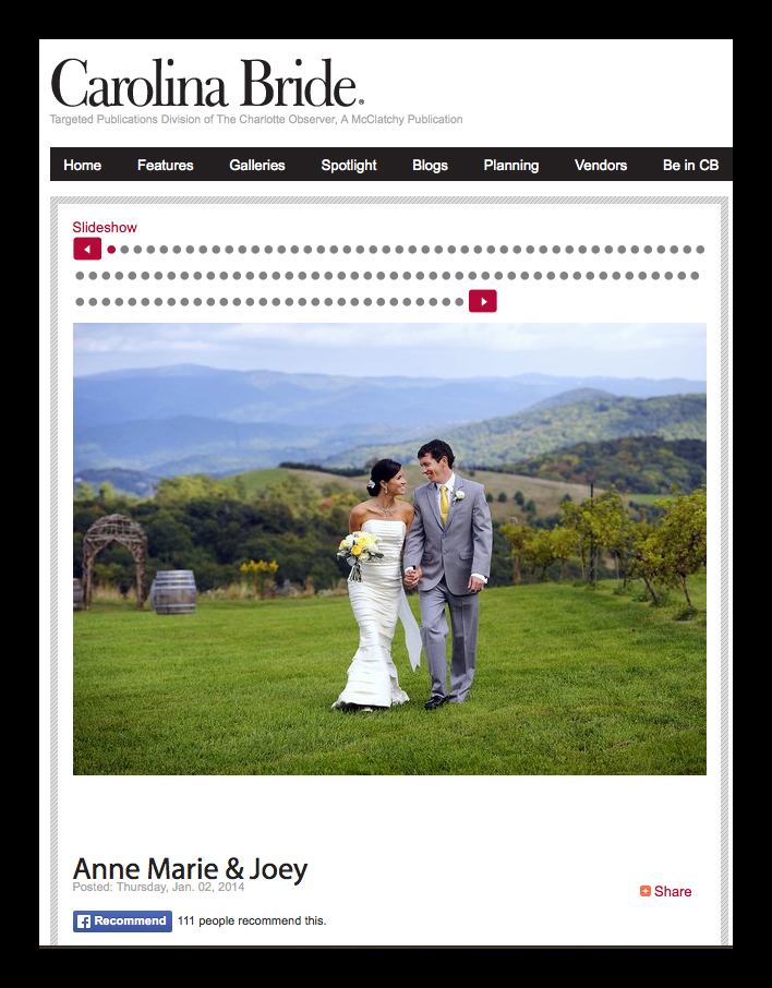 Anne Marie and Joey in Carolina Bride
