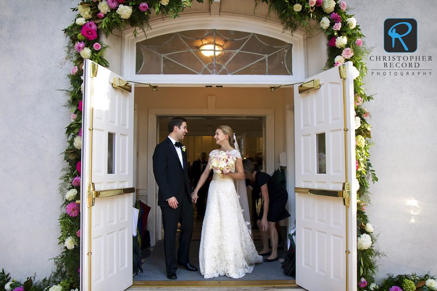 Katie and Mark exit Christ Episcopal Church in Charlotte