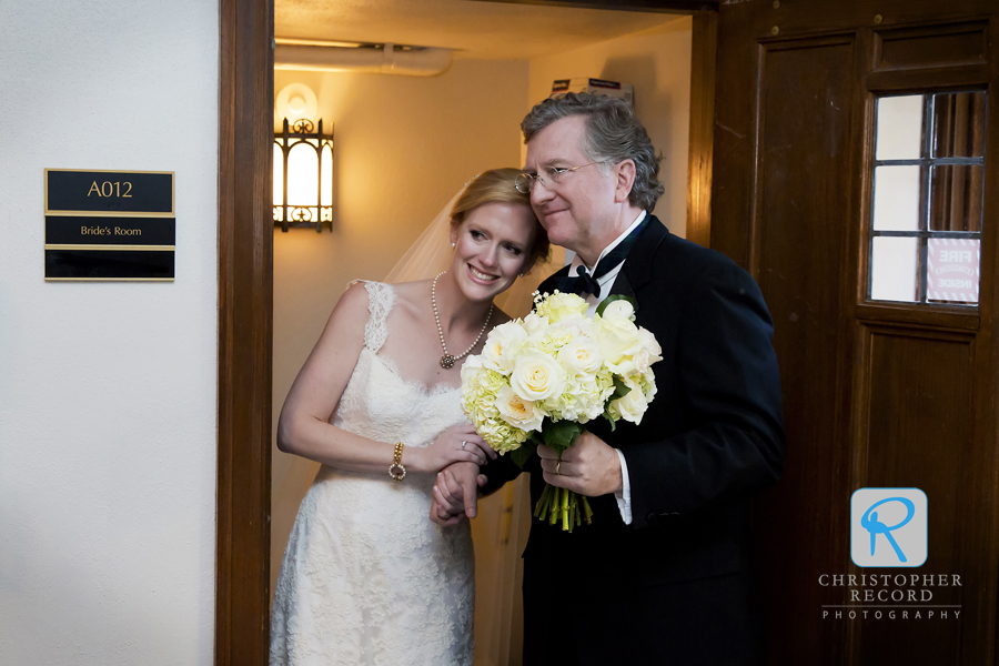 Meredith and her father Blair get ready to enter Myers Park Presbyterian Church