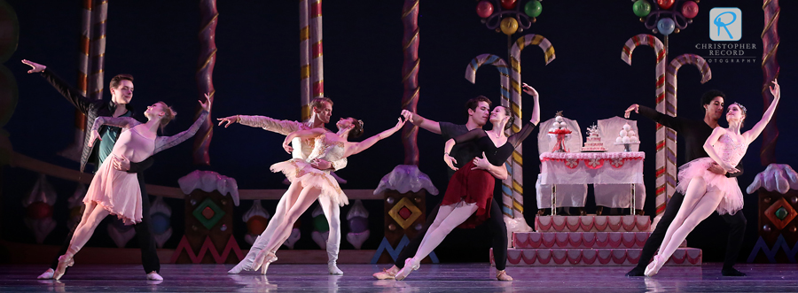 The four dancers who will portray the Sugar Plum Fairy, get a little extra practice with their respective partners