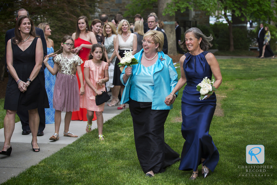 The mothers head to the ceremony